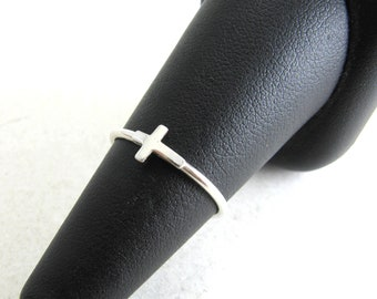 Simple Sterling Silver Cross Ring Stacking Ring Sideways Cross Ring Faith Ring Promise Ring