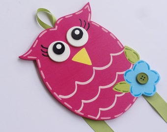 Hand Painted Owl Hair Bow Holder