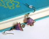 Earrings. Jewelry, Pink, Purple, Gorgeous, Flower, Dainty, OOAK, Upcycled, For Her. Handmade jewelry by AnotherUse on Etsy.