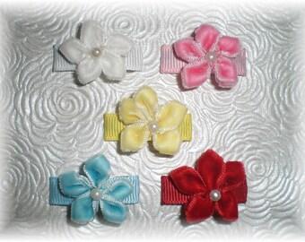 Baby Snap Clip Flower Hair Bows, Flower Snap Clip, Baby Hair Bow, Infant Hair Clip - Set of 5 Velvet Flower Snap Clips