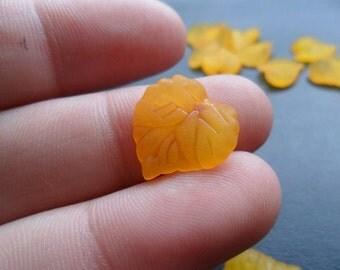 Orange Lucite Leaf Charm/Pendant 20 pcs x18mm