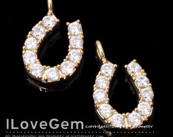 NP-1339 Gold plated, Horseshoe, CZ, charm, 1pc