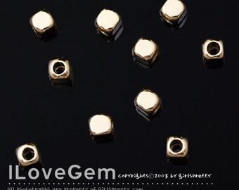 NP-1389 Gold plated, mini square, metal beads, 3mm, 10pcs