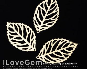 NP-1418 Matt Gold-plated, Filligree Leaf Pendant. S-size, 4pcs