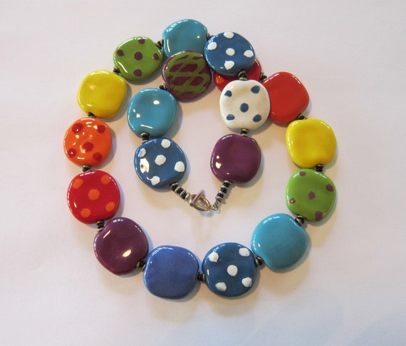 Rainbow Kazuri Necklace
