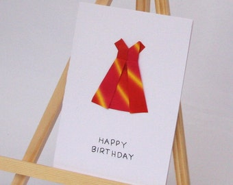Origami Card - Party Dress - Happy Birthday C6 Size