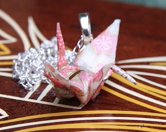 Origami Tsuru Crane Pendant Large - Ivory with Light Pink Flowers