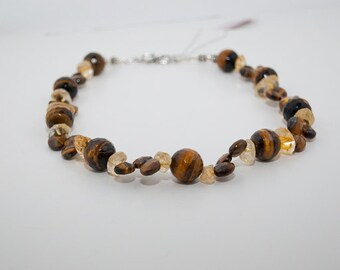 Tiger's Eye and Citrine Necklace with Sterling Silver