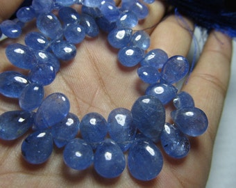 123 / Cts- 8 inches Full Strand Natural Blue -TANZANITE - Trully Gorgeous  Quality - Smooth Polished Pear Briolett huge size - 5x7 - 9x12 mm