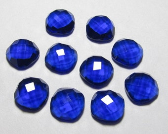 10x10 mm Cushion Checkar cut Board Cabochon - Gorgeous Kashmir Sapphire Blue Colour - QUARTZ - super Super Sparkle 10 pcs