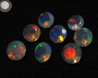 6 mm The Mos Beautifull So Gorgeous - WELO ETHIOPIAN OPAL - Round Faceted Sparkle Nice Fire Ever Pcs - 5 pcs