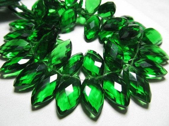 11 - pcs -Awesome Amazing Gorgeous Green-  EMERALD  Quartz Super Sparkle - Faceted Marquise Briolett Huge Size - 10 - 20  mm Long