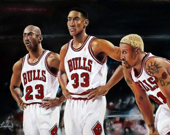 "Threepeat - Chicago Bulls - Michael Jordan Scottie Pippen Rodman - Pastel Painting  - 12"" x16"" Print - Basketball NBA"