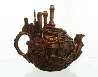 techno steampunk teapot sculpture