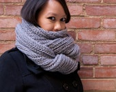The Petworth Cowl - Storm. READY TO SHIP. Long infinity scarf non-wool machine washable