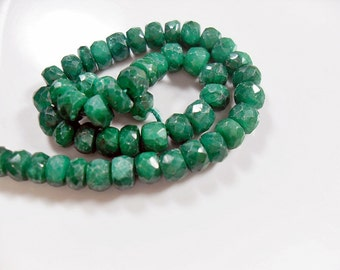 Gemstone Faceted Green Emerald Rondelles, 3d cut, cube Spacer Gemstone Beads, 4mm