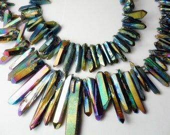 Gemstone,Gold Electroplated Quartz Points, Dagger Shape Quartz, AB finish, 20-35mm  various pieces