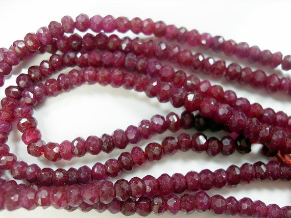 Ruby Rondelles, Faceted, Red Ruby Gemstone Beads, 4mm   6pcs