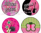 Rock Star Bottle Cap Image Set - One Inch Round Circle Digital Image Collage Sheet for Pendant Jewelry, Hairbows, and more