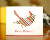 Rainbow Striped Bird in Party Hat Birthday Card (100% Recycled Paper)