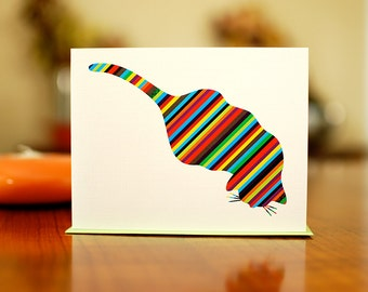 Striped Aerial Cat - Colorful Blank Card on 100% Recycled Paper