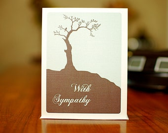 Faraway Tree with Bird Sympathy Card in Blue & Grey on 100% Recycled Paper
