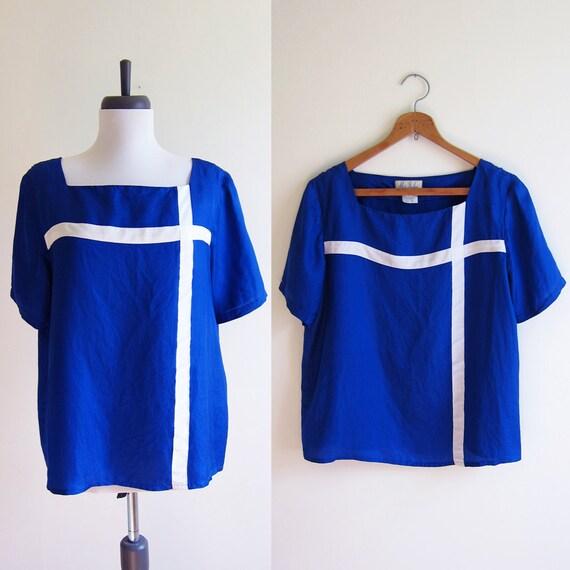 Vintage 1960s Blouse / Cobalt BLUE Cross SILK Blouse / Size Small or Medium