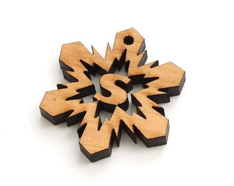 Mini Snowflake Wood Monogram Tie-on - Letter S - Sustainable Wisconsin Wood . Timber Green Woods