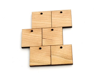 "Black Cherry Square Shape Zipper Pulls or Charms - 1 1/4""  Laser Cut from Sustainable Harvest Wisconsin Wood . Timber Green Woods, USA."