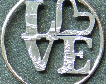 Love Heart Hand Cut Coin Jewelry