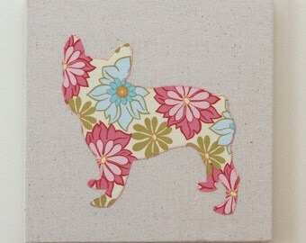 French Bulldog appliqued wall panel - 10 x 10 inches, you pick the fabric