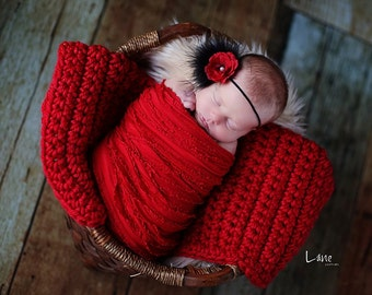 Chunky Baby Blanket Red Newborn Photo Prop Basket Filler Photography Prop Basket Stuffer