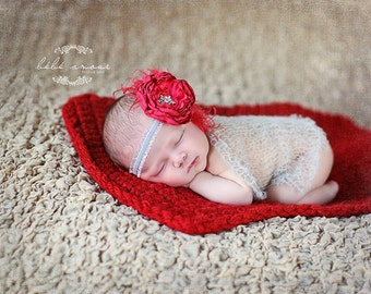 Newborn Photo Prop Blanket Newborn Baby Photography Prop chunky Blanket red