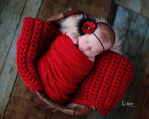 Chunky Baby Blanket Red Newborn Photo Prop Basket Filler Photography Prop Basket Stuffer