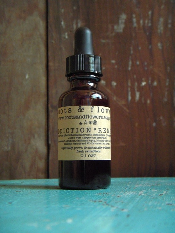 Addiction Remedy 1oz tincture of St. John's Wort, California Poppy herbal extracts with flower essences made with organic alcohol