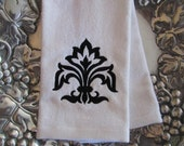 Fleur de Lis Leaves - Fingertip Velour Bathroom Towel - JD Designs
