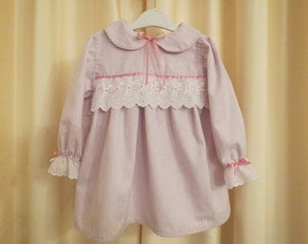 Handmade in Australia Cotton GIrl's Pink and Violet Pinstripe Dress