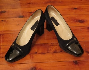 Vintage Made in Italy 80s Classy Black Leather  Heels