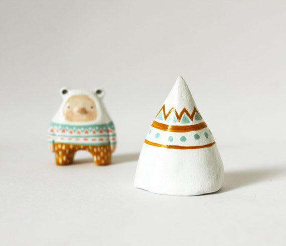 Mountain amulet - Whimsical home decor - Paper clay miniature sculpture - Gift under 25 dollars
