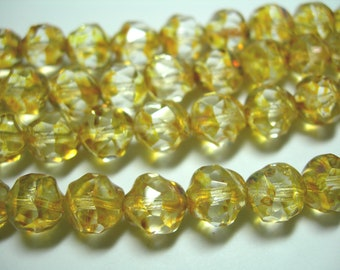 15 8mm Crystal  Picasso faceted Firepolished Thru Cuts Czech Glass Beads