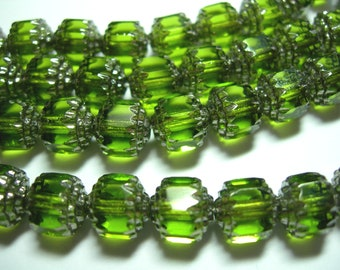 25 8mm Oivine Green with silver Firepolished Cathedral Czech Glass Beads