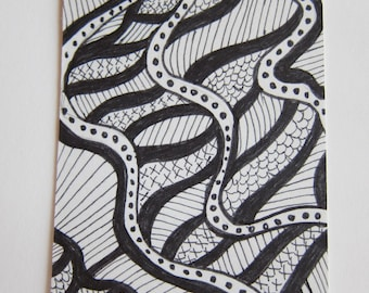 Zentangle ACEO Dots and Stripes Original Drawing - Illustration 326 Pen and Ink watercolorsNmore