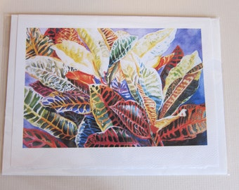 Croton, croton art print 5 x 7 Note Card watercolor print Blank Greeting Card, Fall colors Tropical yellow  orange  red - colorful
