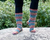 Hand knit socks with stripes in the colors of the pheasant - orange, green, teal, red and gray