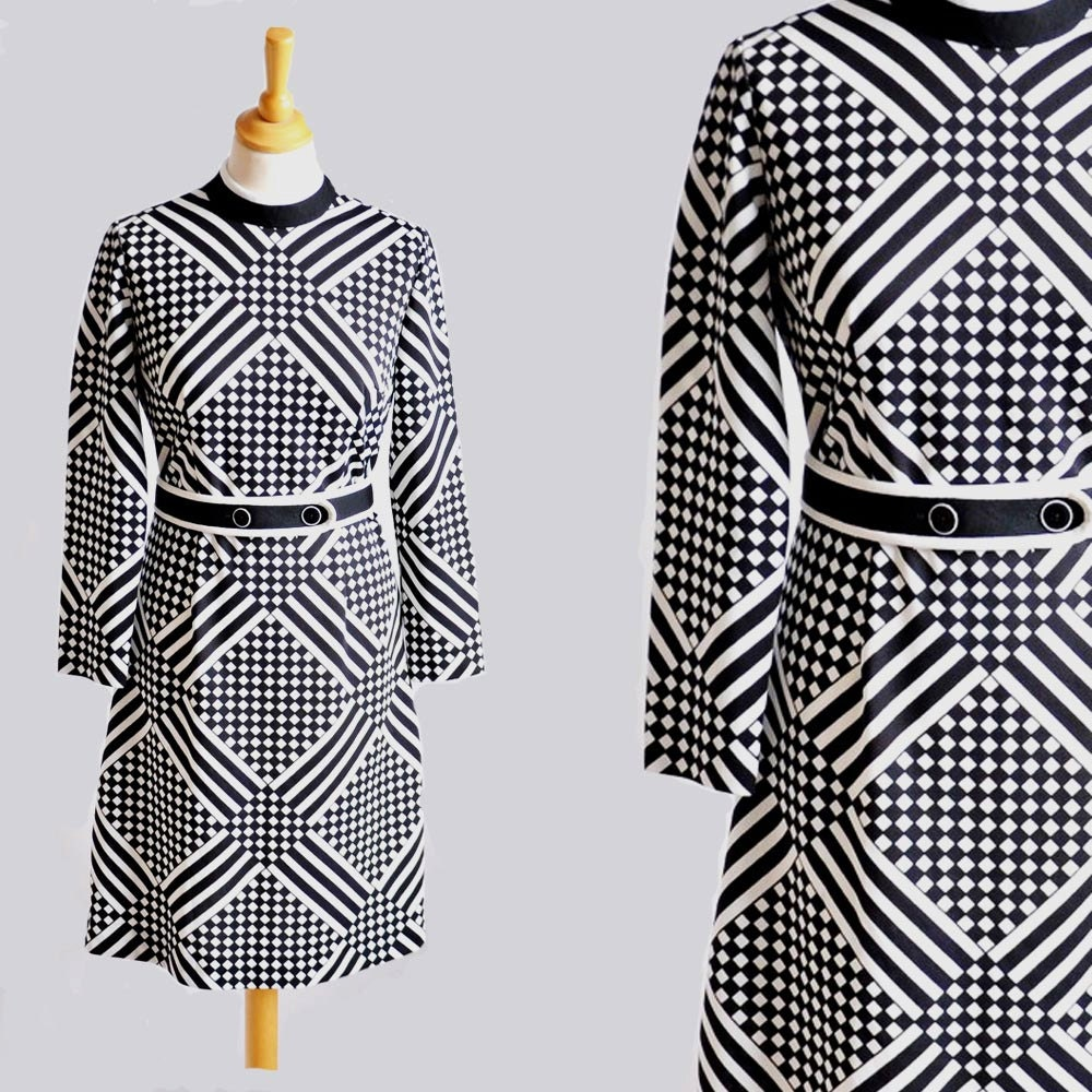 Vtg 60s op art black and white dress s m by primordialcreatures