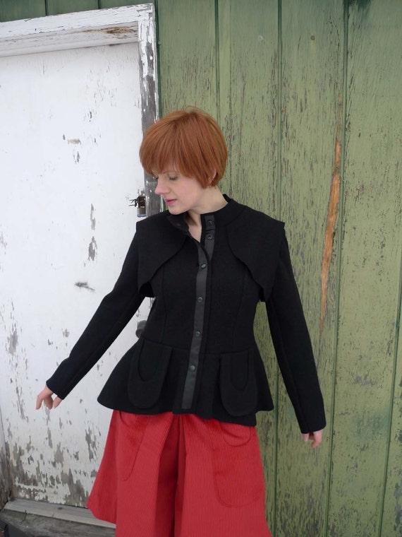 SALE - meerwiibli black boiled wool jacket women flap and wing - last 2 - M + L in stock