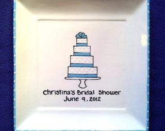 GUEST BOOK ALTERNATIVE  Wedding Signature Plate Shower Guest Book - Ribbon Cake