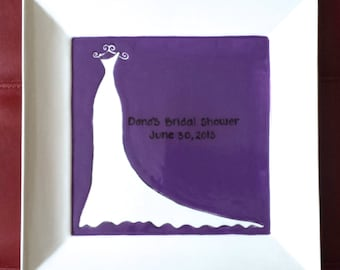Wedding Guest Book Alternative - Bridal Shower Guest Book Plate- Wedding shower signature plate - gown