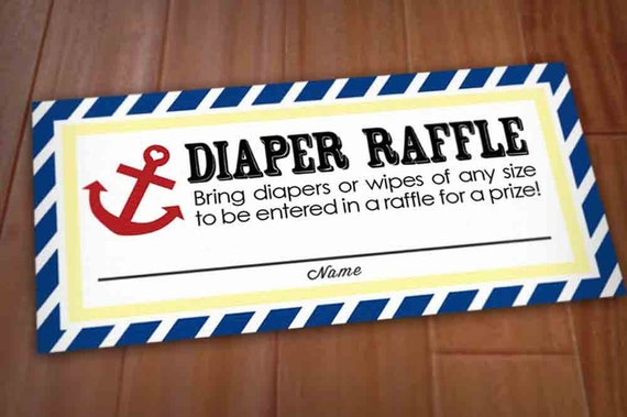 NAUTICAL Diaper Raffle Ticket in Red and Navy Blue- Instant Printable Download