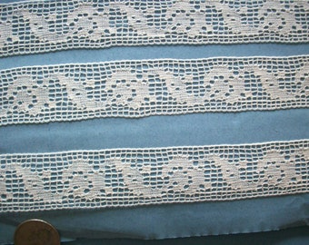 2 yds. Antique french filet lace of pure cotton